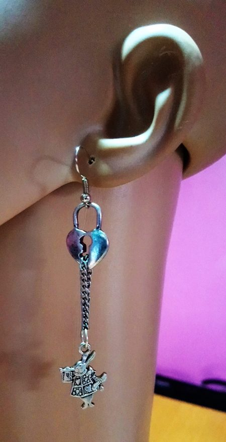Silver wonderland rabbit and locket earrings