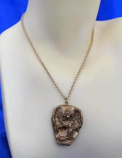 3D gold guardian angel cameo necklace