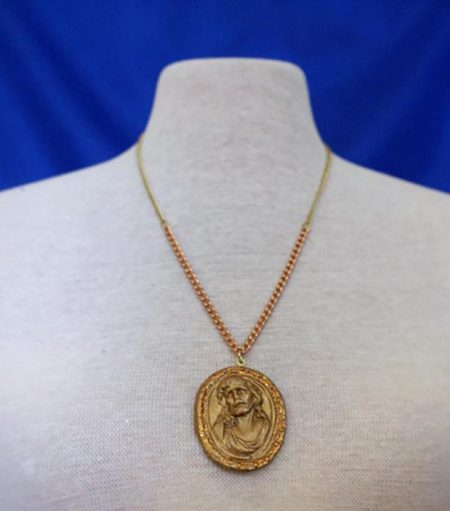 Jesus 3D gold cameo necklace