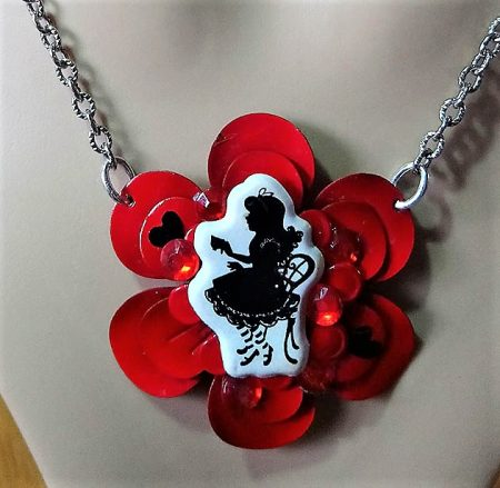 Alice in Wonderland drinking tea cameo flower necklace