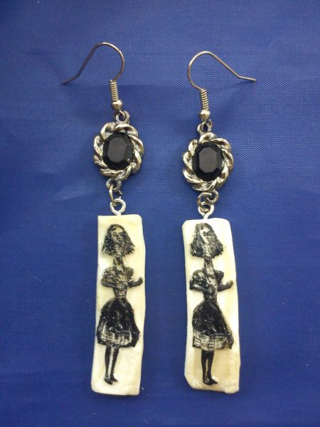 Alice horror glow in the dark cameo and jewel earrings