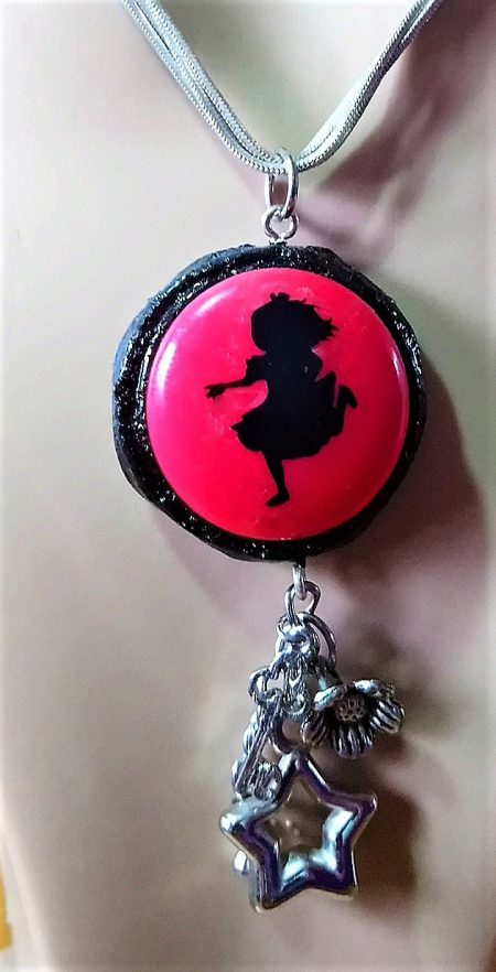 Alice in Wonderland running cameo and silver drop charm necklace