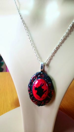 Alice in Wonderland white rabbit silhouette red and black cameo necklace