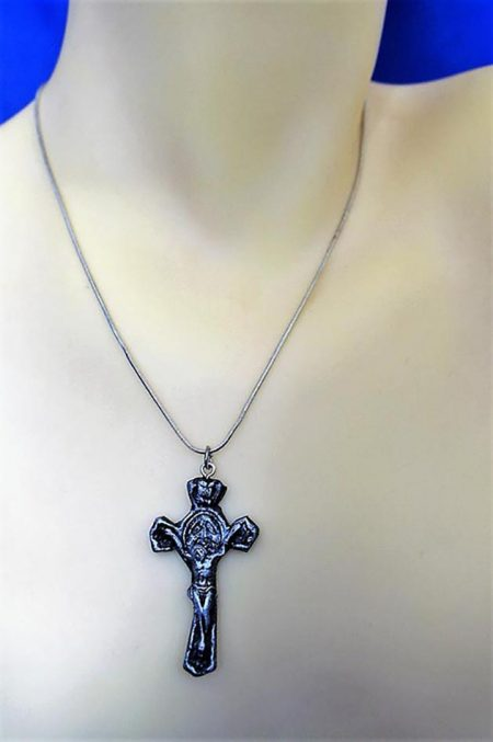 Black and silver crucifix necklace