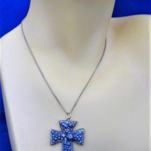Blue 3D cluster cross necklace