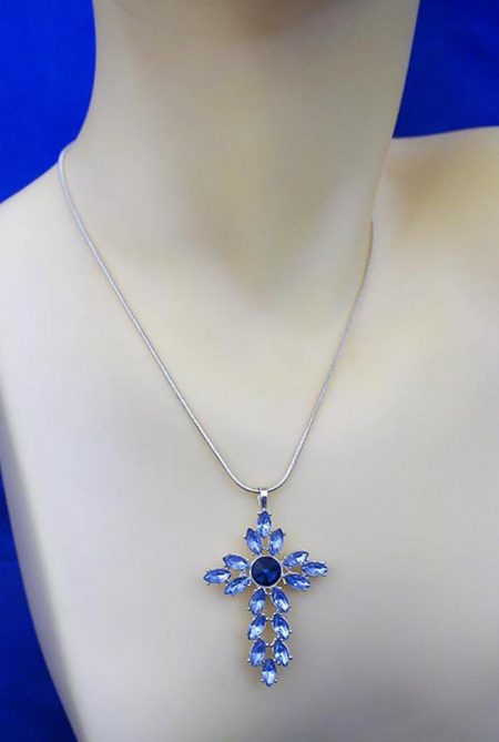 Crystal and blue jewel cross necklace