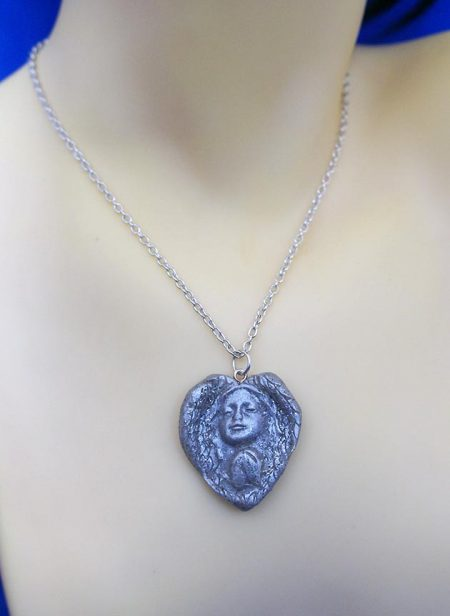 Silver heart angel cameo necklace