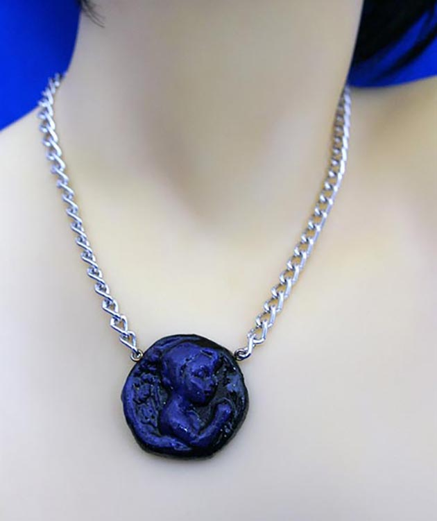 Black and purple 3D angel praying cameo necklace
