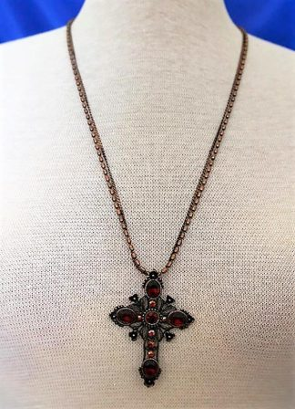 Copper red jewel cross necklace