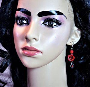 Victorian Lolita rose bead and drop charm earrings