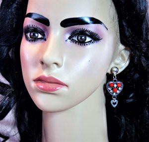 Silver jewel and bead heart earrings