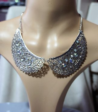 Silver and Iridescent crystal bib necklace