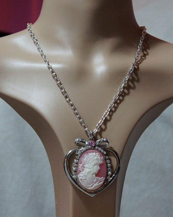 Bohemian Lolita heart and jewel cameo necklace