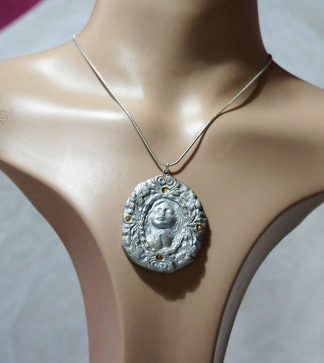 Silver praying angel cameo necklace