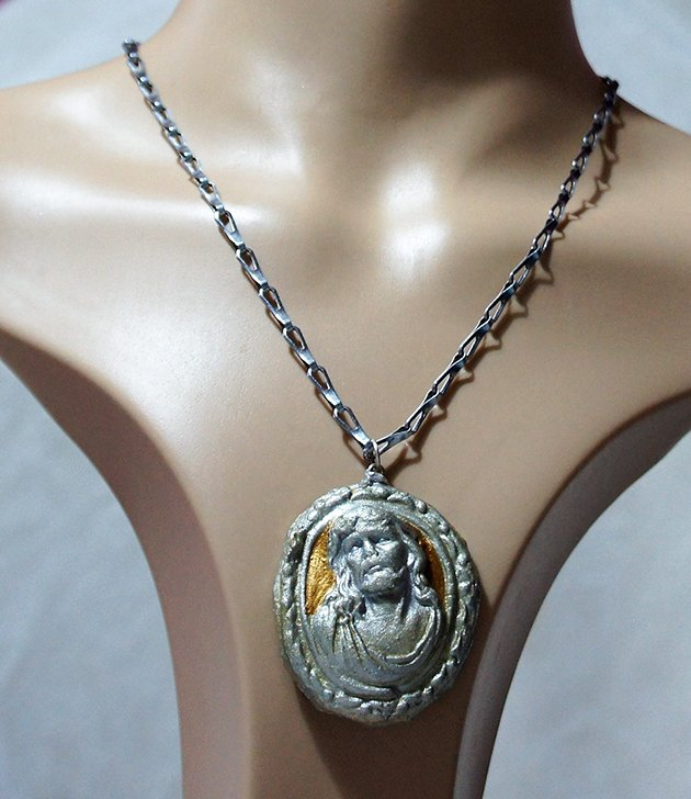 Silver and gold 3D Jesus cameo necklace