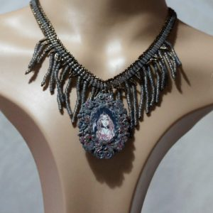 Mystic witch cameo and tassel necklace