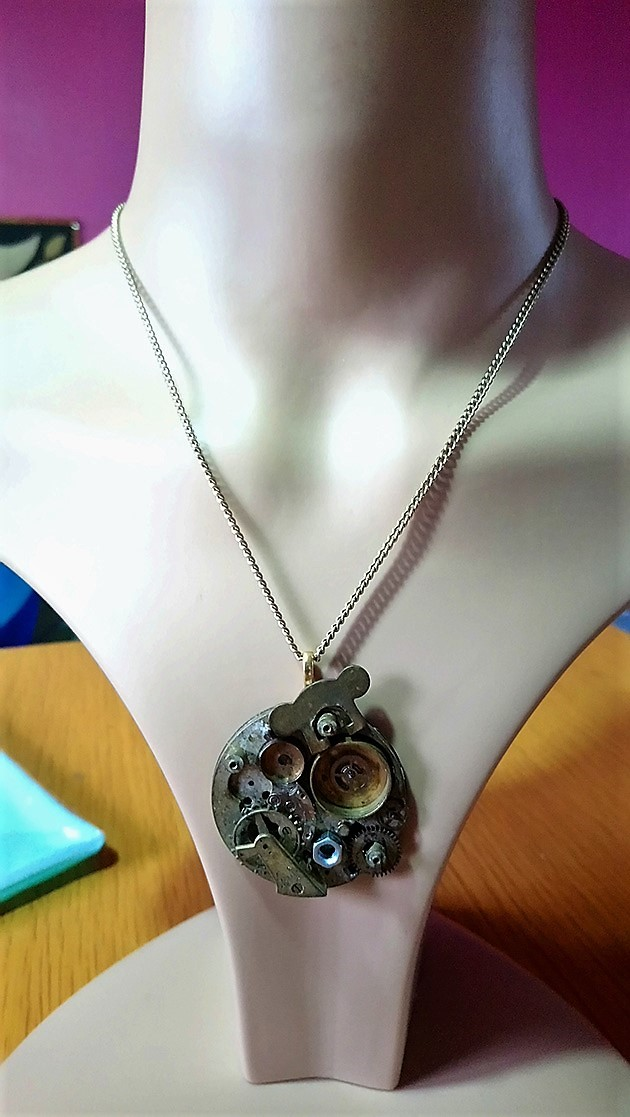 Steampunk real stop watch cog part cameo necklace