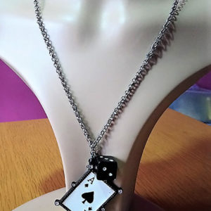Gothic Lolita card dice and charm necklace