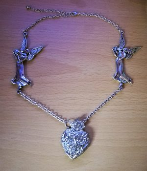 Fantasy angel and heart pendant necklace