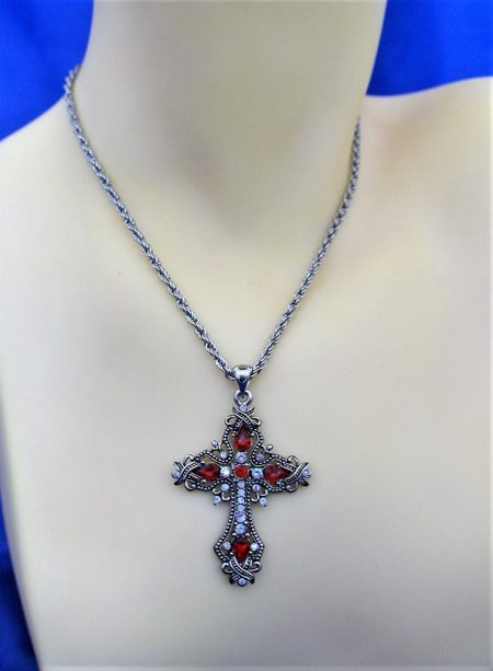 Silver jewel cross pendant necklace