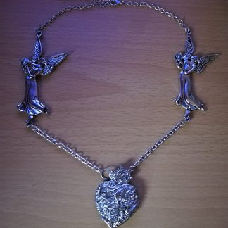 Fantasy angel and heart necklace