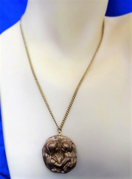 Mary and baby Jesus cameo necklace