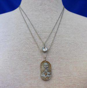 Praying cherub silver pendant necklace