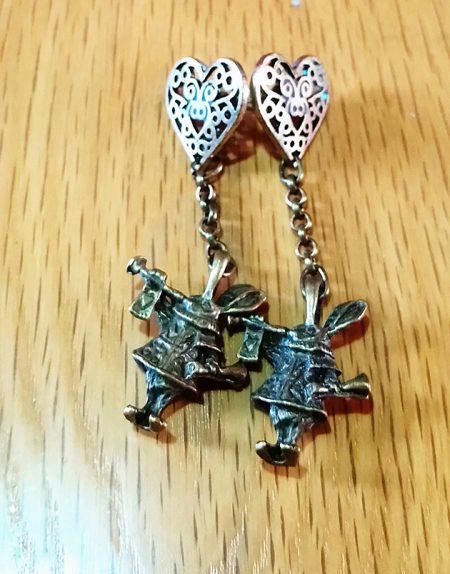 Wonderland gold 3D rabbit and heart earrings