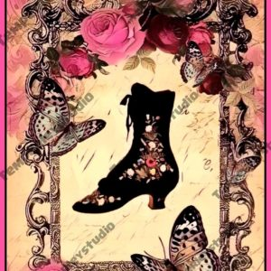 Victorian boot and butterfly