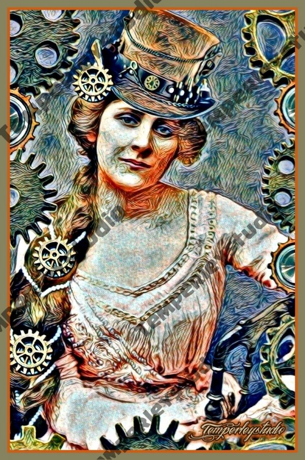 Steampunk lady in surreal cog frame