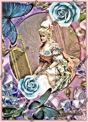 Georgian lady in shabby chic and rose