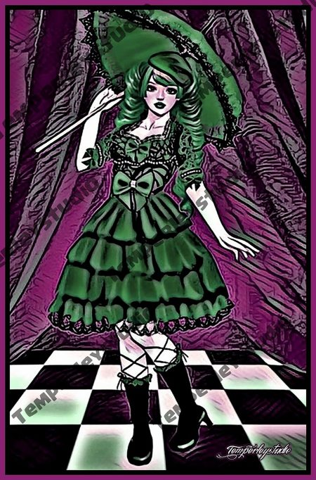 Gothic Lolita doll purple and green