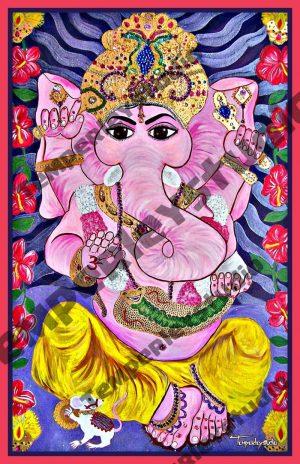 Ganesha in lotus love artwork print