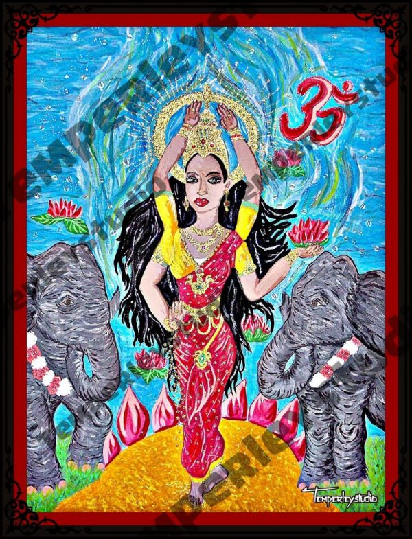 Lakshmi in elephant waterfall artwork print