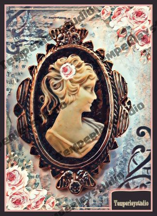 Shabby lady cameo in rose look