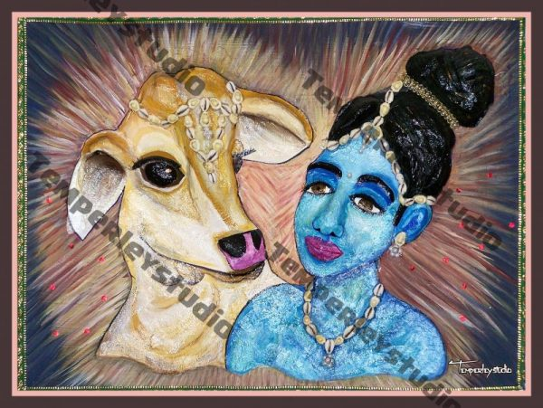 Krishna and Nandi in 3D artwork print