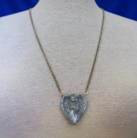 Silver 3D guardian angel pendant necklace