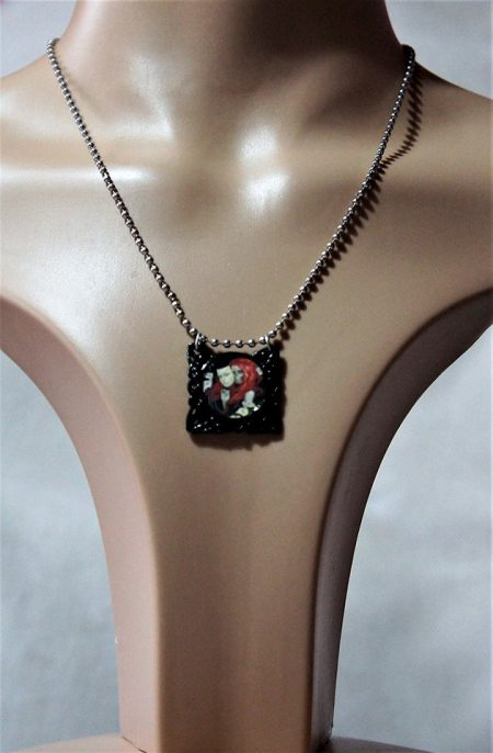 Gothic girl and skull mask cameo necklace