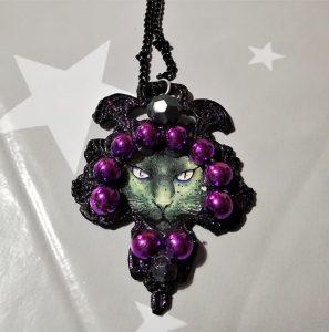 Black mystic cat cameo necklace