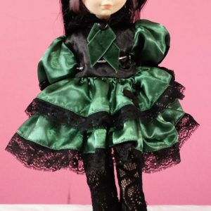 Green and black satin Gothic Lolita dress