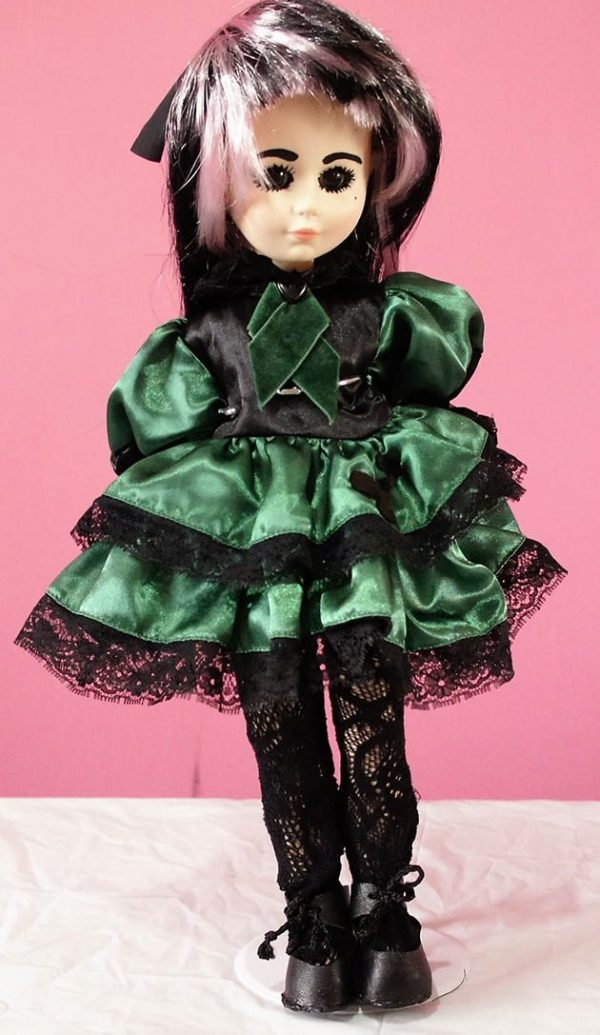 Green and black satin Gothic Lolita dress