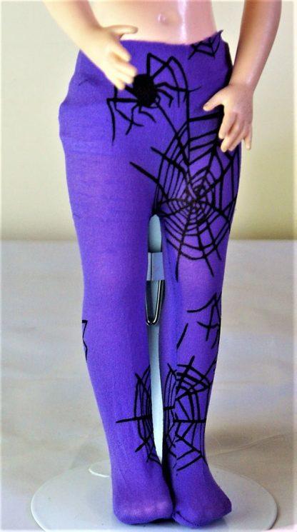 Purple spider web dolls tights