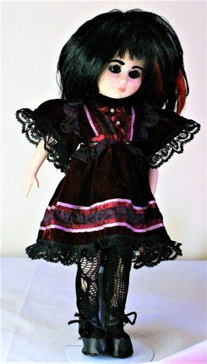 Gothic Lolita velvet red and black panel dress