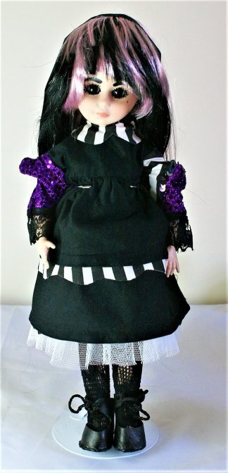 Gothic Lolita black and stripe collar dress