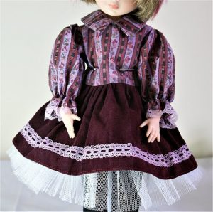 Victorian Lolita pink and red floral stripe dress