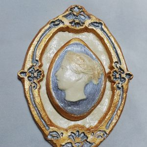 Queen Victoria double gold and silver cameo plaque