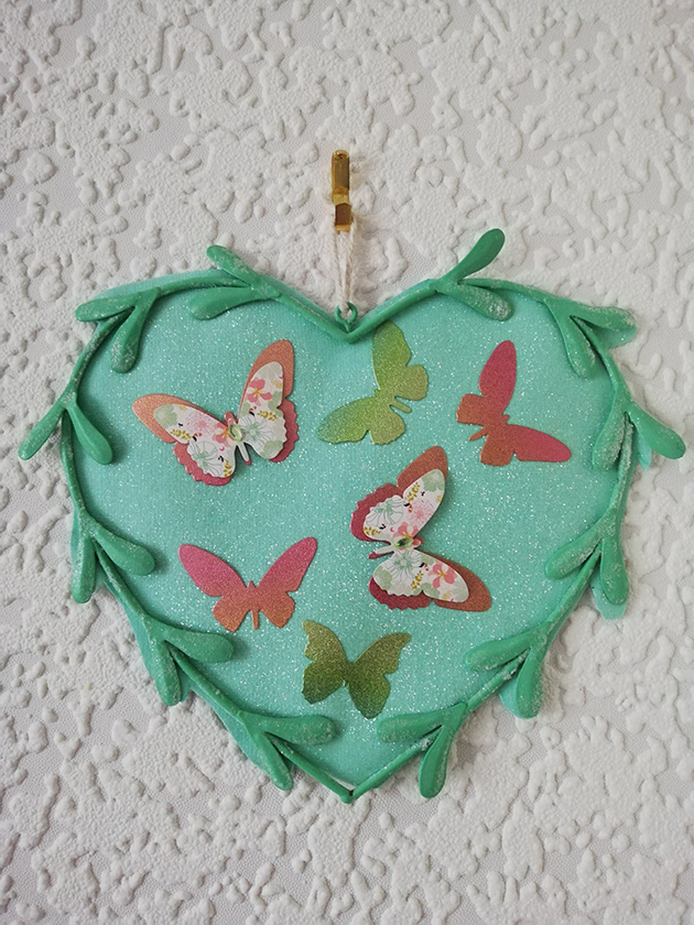 Aqua butterfly fantasy heart wall plaque