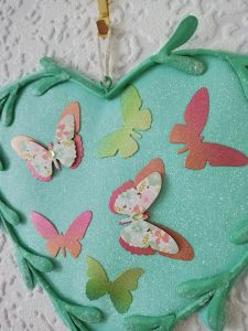 Aqua butterfly heart wall plaque