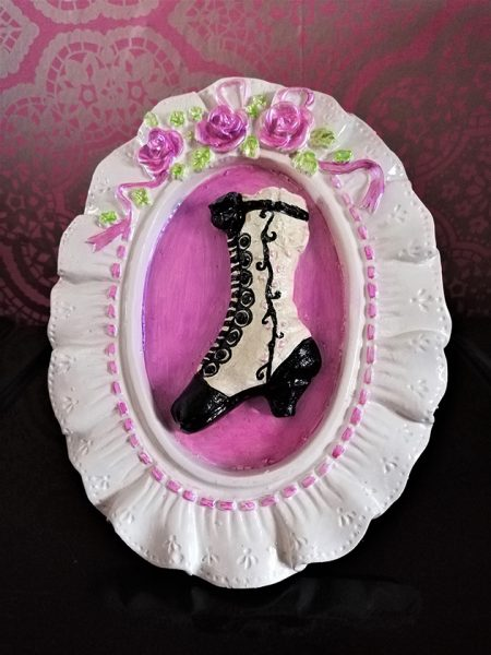 Victorian boot picture / wall plaque