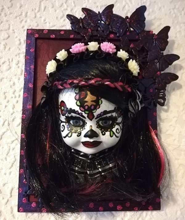 Day of the dead (Día de los Muertos) 3D doll face picture (black and pink)1